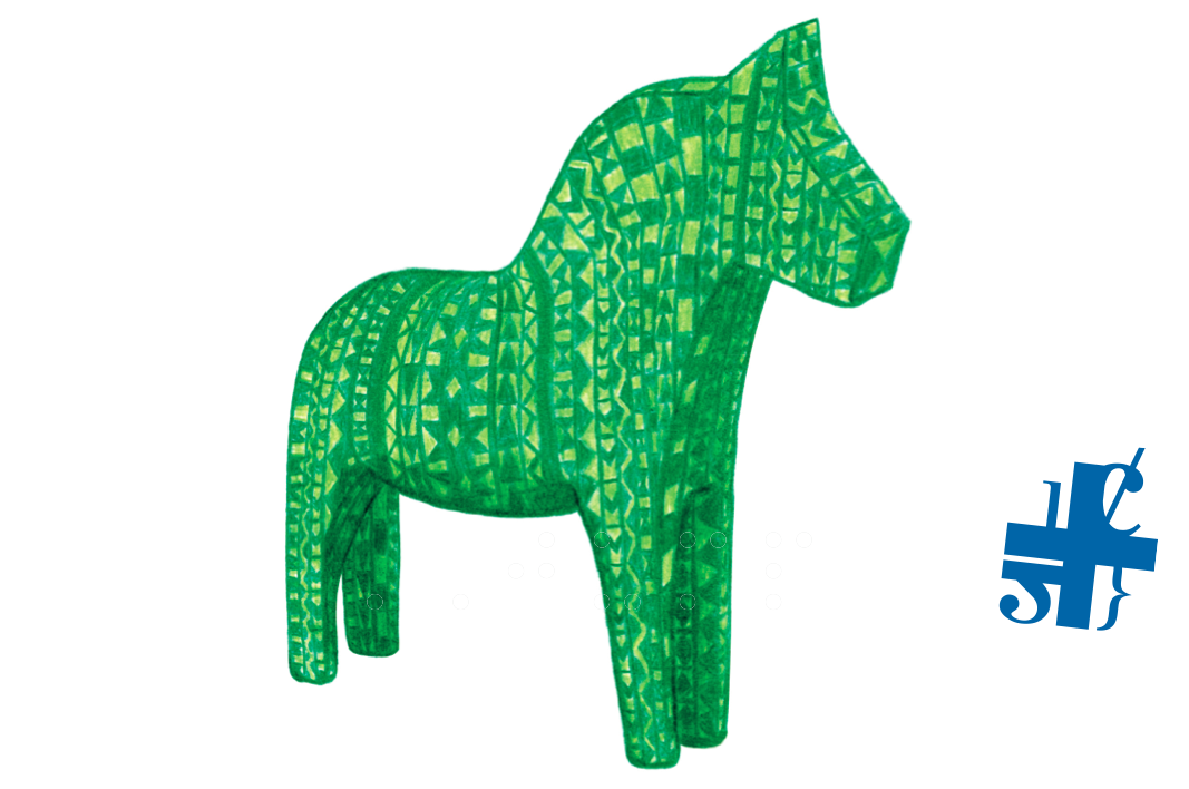 Green horse and logo for human rights consultant.